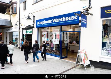 Carphone warehouse mobile telephone shop on the high street, Cornwall - England - Stock Photo