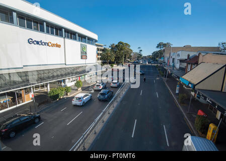 Looking north to the Gordon Centre shopping mall at 802-808 Pacific Hwy, Gordon NSW 2072, Australia - Stock Photo