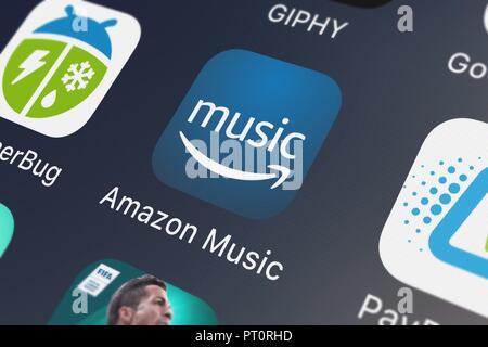 Amazon Music app icon on iPhone (close up, macro) - USA