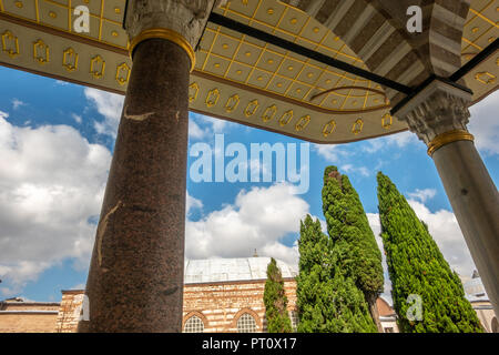 Istanbul, Turkey, September 2018: Canopy of a building in the second courtyard of Topkapi Palace.