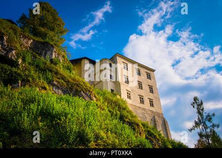 Pieskowa Skala, Lesser Poland / Poland - 2018/09/09: Historic castle Pieskowa Skala by the Pradnik river in the Ojcowski National Park - Stock Photo