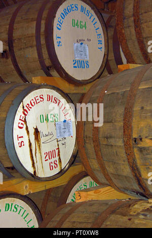 Signed cask of single malt English Whisky laid down in 2007 for HRH Prince Charles at St George's Distillery, Roudham, Norfolk, UK. - Stock Photo