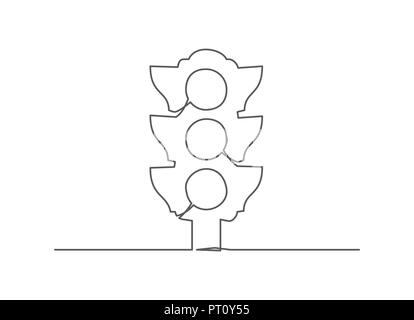 Traffic light One line drawing - Stock Photo