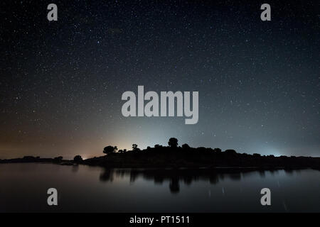 Night photography in the Natural Area of Barruecos. Extremadura. Spain. - Stock Photo