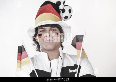 German football fan, halfportrait (model-released) - Stock Photo