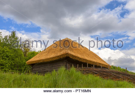 Farm house with yellow thatched roof and green grass on background cloudy sky. Old historical traditional Ukraine hut in Pirogovo - Stock Photo