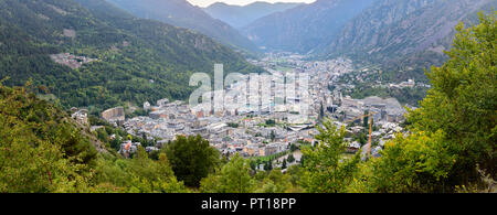 Cityscape in Summer of Andorra La Vella, Andorra. - Stock Photo