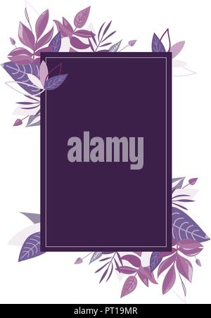 Purple leaves frame. Violet botanical vector - Stock Photo