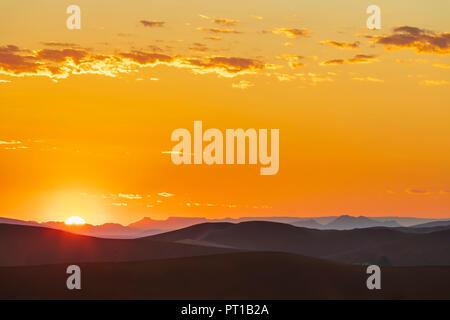 Africa, Namibia, Namib desert, Naukluft National Park, sand dunes at sunrise - Stock Photo