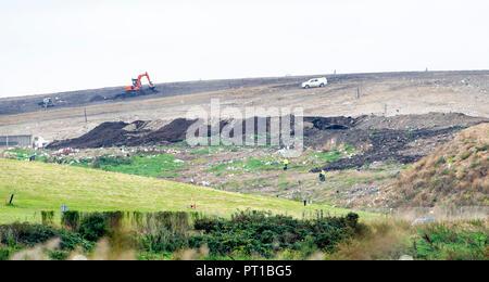 Rainham Marshes Essex UK - The Veolia landfill site at Purfleet - Stock Photo