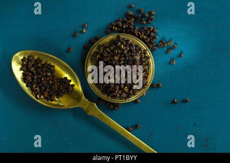 Szechuan pepper on brass spoon - Stock Photo