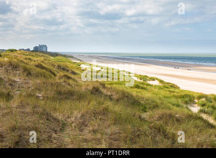 Belgian North Sea beach at Blankenberge, viewing to De Haan - Stock Photo