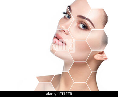 concept lifting skin face and plastic surgery - Stock Photo