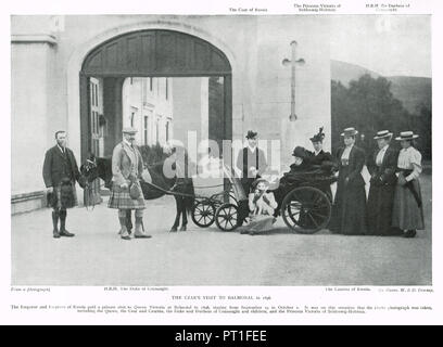 Visit of Tsar Nicholas II (last emperor of Russia) and his wife Alexandra Feodorovna, Alix of Hesse, to Balmoral castle, Scotland, as guests of Queen Victoria, 1896 - Stock Photo