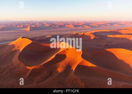 Africa, Namibia, Namib desert, Namib-Naukluft National Park, Aerial view of desert dunes - Stock Photo