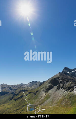 Austria, Grossglockner High Alpine Road, view from Edelweissspitze to Fuscher Lacke - Stock Photo