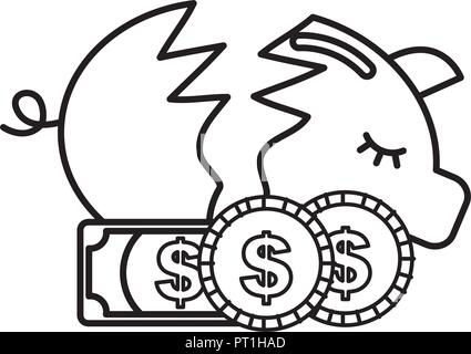 broken piggy bank coins banknotes money crisis - Stock Photo