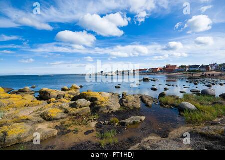 View of fishing hamlet on east coast of Bornholm island - Aarsdale, Denmark - Stock Photo