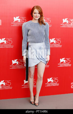VENICE, ITALY - AUGUST 30: Emma Stone attends 'The Favourite' photo-call during the 75th Venice Film Festival on August 30, 2018 in Venice, Italy. - Stock Photo
