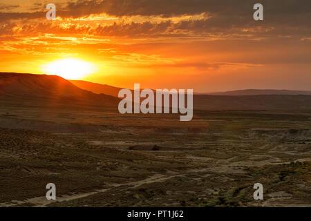Azerbaijan, Gobustan, Gobustan National Park at sunrise - Stock Photo