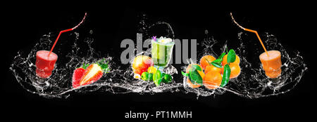 Fresh mix of smoothies and fruits, water splashes, banner - Stock Photo