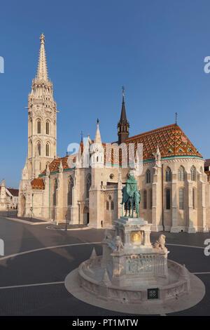 Equestrian statue of King Stephen I, Matthias Church, Fisherman's Bastion at Buda Castle Hill, Budapest, Hungary - Stock Photo