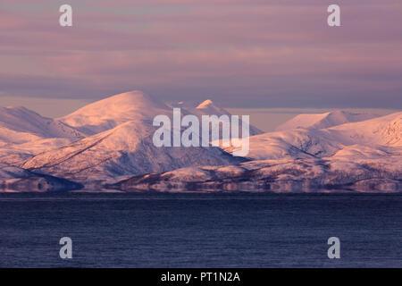 Norway Troms Senja island on top of Keipen summit with ...