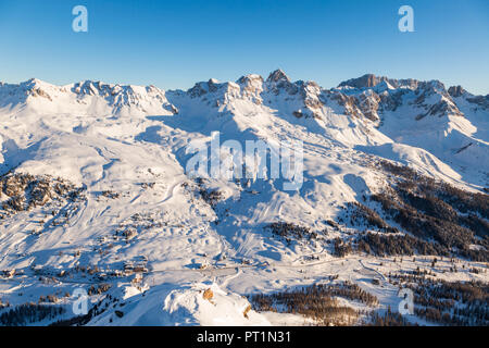Panoramic view of San Pellegrino pass from Col Margherita, San Pellegrino pass, Val di Fassa, Trentino, Italy, - Stock Photo