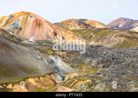 A view of Landmannalaugar and Brennisteinsalda mountain (Landmannalaugar, Fjallabak Nature Reserve, Highlands, Southern Region, Iceland, Europe) - Stock Photo