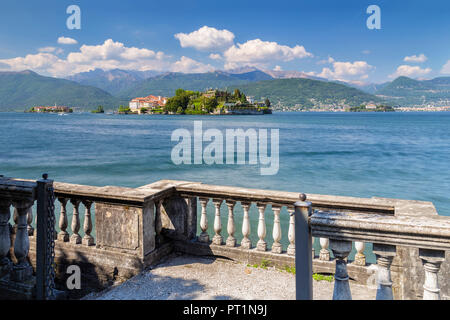 View of the Borromean Islands, Isola dei Pescatori, Isola Bella and Isola Madre from a balcony on the lake front of Stresa in a spring day, Verbano Cusio Ossola, Lago Maggiore, Piedmont, Italy, - Stock Photo