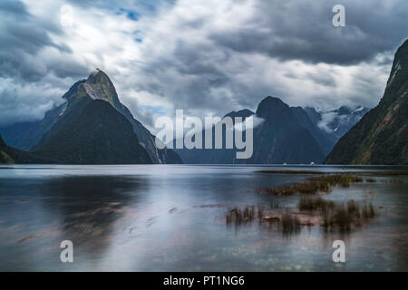Long Exposure of Milford Sound with low tide on a cloudy summer day, Fiordland NP, Southland district, Southland region, South Island, New Zealand, - Stock Photo