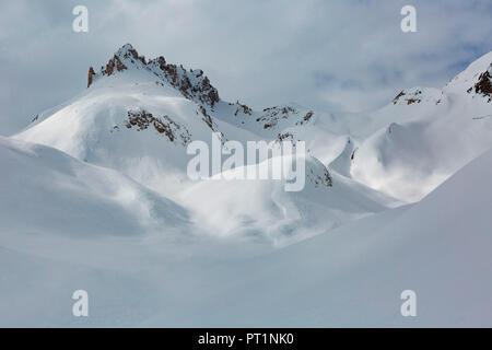 Pizzo delle Colombe mountain in winter, valle di Blenio, Canton Ticino, Switzerland, Europe - Stock Photo