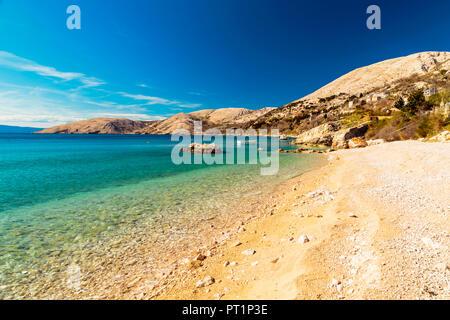 The beach of Stara Baska in Krk Island, Dalmatia, Adriatic Coast, Croatia, - Stock Photo