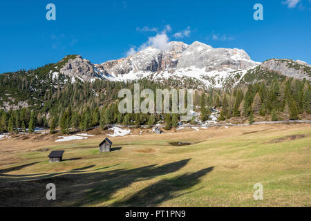 Prato Piazza / Plätzwiese, Dolomites, South Tyrol, Italy, The Croda Rossa d'Ampezzo behind some barns on the Prato Piazza - Stock Photo