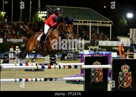 """Barcelona, Spain. 05th Oct, 2018. Jockeys in the CSIO Barcelona host the great LONGINES FEI Jumping Nations Cup â""""¢ world final, the most important equestrian event on the international equestrian calendar. Credit: CORDON PRESS/Alamy Live News - Stock Photo"""