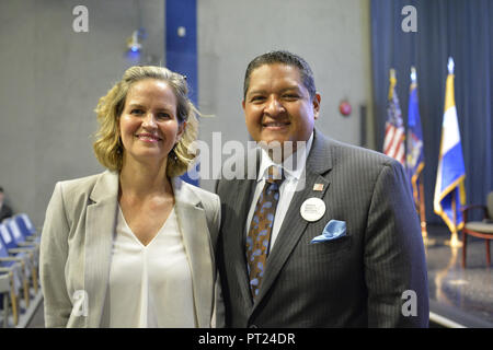 Hempstead, New York, USA. 5th Oct, 2018. L-R, Democrats Nassau County Executive LAURA CURRAN and JUAN VIDES, candidate for NYS 20th Assembly District, pose before start of U.S. Sen. Gillibrand's Town Hall Meeting at Hofstra University on Long Island. Credit: Ann Parry/ZUMA Wire/Alamy Live News - Stock Photo