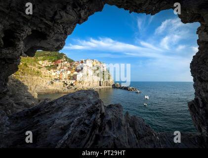 Manarola village, view from grotto, La Spezia district, Liguria, Italy - Stock Photo
