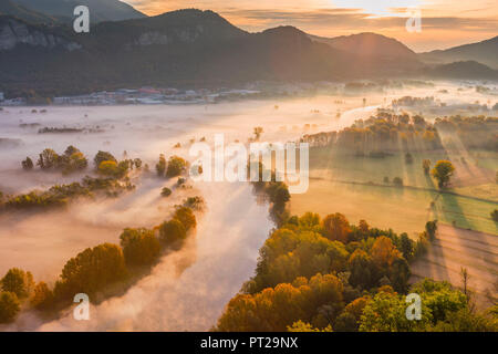The mists of Adda river, Airuno, Adda Nord park, Lecco province, Brianza, Lombardy, Italy, Europe - Stock Photo