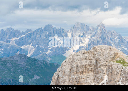 Pale di San Martino seen from Latemar, Val d'Ega / Eggental, Dolomites, Province of Bolzano, South Tyrol, italian alps, Italy - Stock Photo