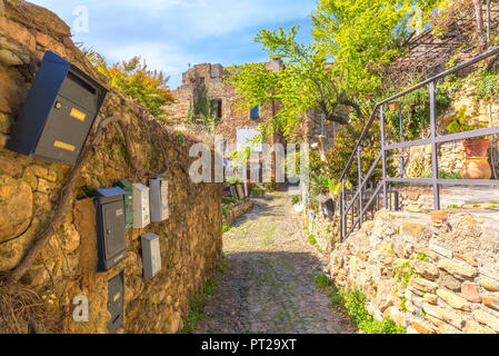 Post boxes of restored houses in the center of Bussana Vecchia, Sanremo, Province of Imperia, Liguria, Italy, Europe, - Stock Photo