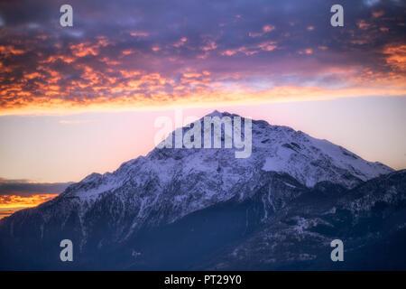 Stunning sunrise over Monte Legnone, Como Lake, Lombardy, Italy, Europe, - Stock Photo