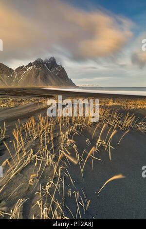 sunset at Vestrahorn mountain, Stokksnes, Eastern Iceland, Europe - Stock Photo
