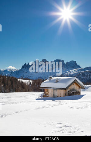 View on the Pale Group (Pale di San Martino) from the small village called Fuciade in San Pellegrino Pass (Soraga di Fassa, Biois Valley, Trento province, Trentino-Alto Adige, Italy, Europe) - Stock Photo