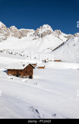 Fuciade, a small village in Dolomites near San Pellegrino Pass (Soraga di Fassa, Biois Valley, Trento province, Trentino-Alto Adige, Italy, Europe) - Stock Photo