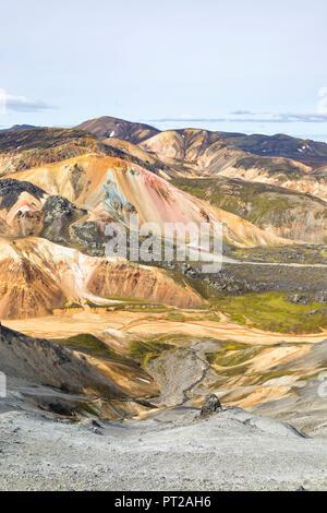A view of Landmannalaugar and Brennisteinsalda mountain from Blahnukur mountain (Landmannalaugar, Fjallabak Nature Reserve, Highlands, Southern Region, Iceland, Europe) - Stock Photo