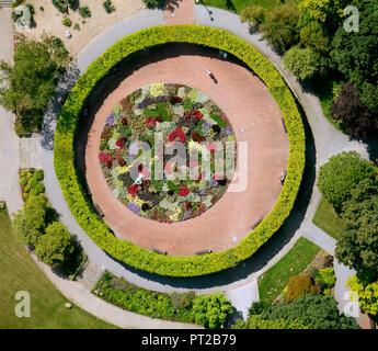 Aerial View, Grugapark, rose bed, Essen, Ruhr Area, North Rhine-Westphalia, Germany, Europe, - Stock Photo