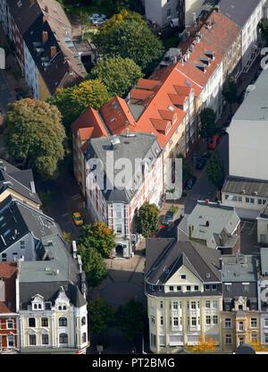 Aerial view, rental housing, block of flats, triangular house, residential street, corner house, Im Duelskamp, ??Vinckestraße, Herne, Ruhr area, North Rhine-Westphalia, Germany, Europe - Stock Photo