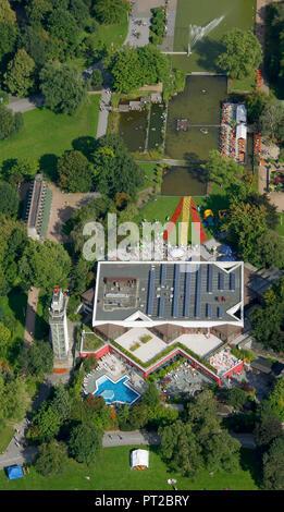 Aerial view, Grugarestaurant, Grugapark, Gruga, Essen, Ruhr area, North Rhine-Westphalia, Germany, Europe, - Stock Photo