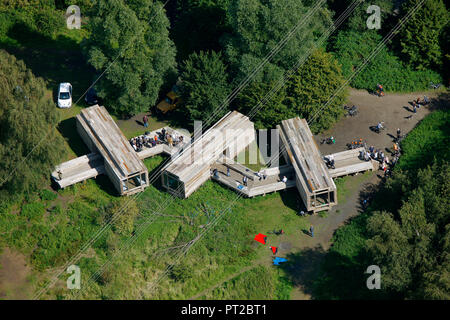 Aerial View, Emscher Art, Observatory, Waiting for the River, Geert van de Camp, Andre Dekker, Ruud Reutelingsperger, Gelsenkirchen, Essen, Ruhr Area, North Rhine-Westphalia, Germany, Europe, - Stock Photo