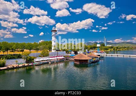 Donauinsel of Vienna Danube coastline view, capital of Austria - Stock Photo